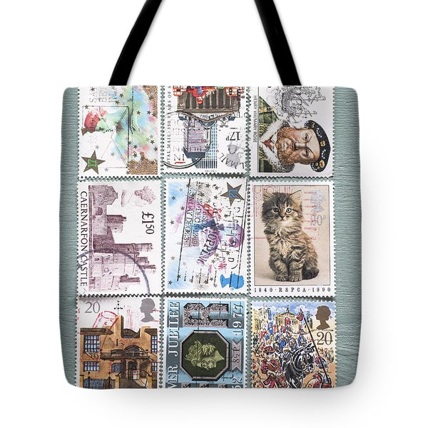 Old British Postage Stamps Tote Bag by Jan Bickerton