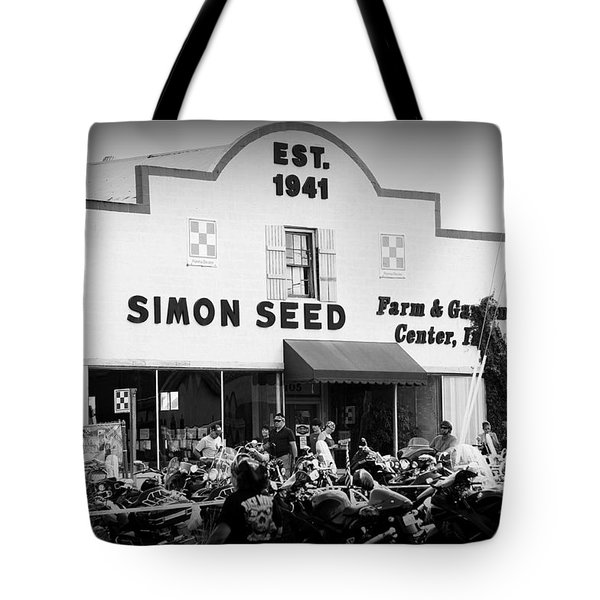 Old Building New Bikers Tote Bag by Laurie Perry