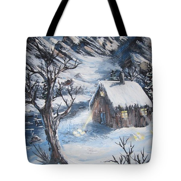 Tote Bag featuring the painting Old Cabin by Megan Walsh