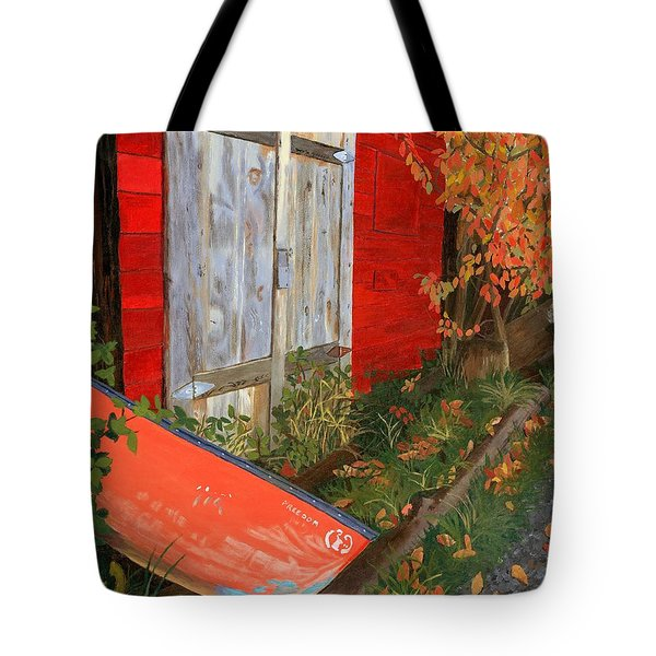 Tote Bag featuring the painting Old Canoe by Lynne Reichhart