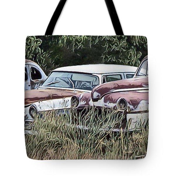 Old Car Graveyard Tote Bag