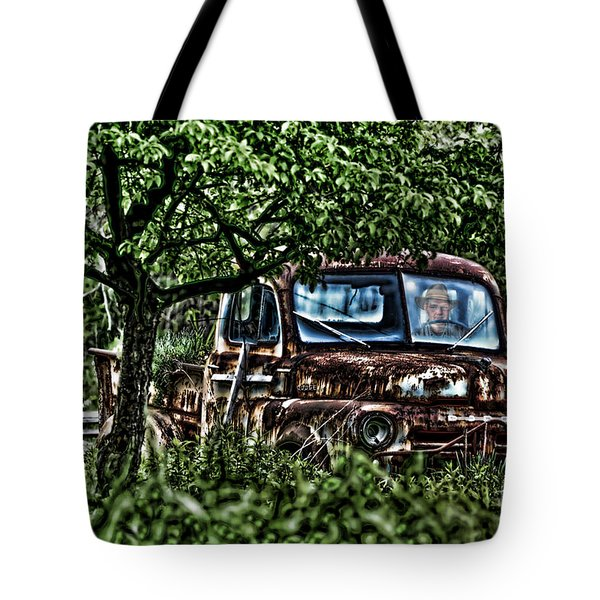 Old Car With Ghost Driver Tote Bag by Dan Friend