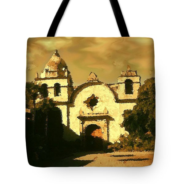 Old Carmel Mission - Watercolor Drawing Tote Bag by Art America Gallery Peter Potter