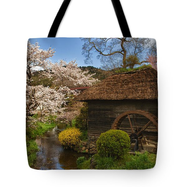 Old Cherry Blossom Water Mill Tote Bag by Sebastian Musial
