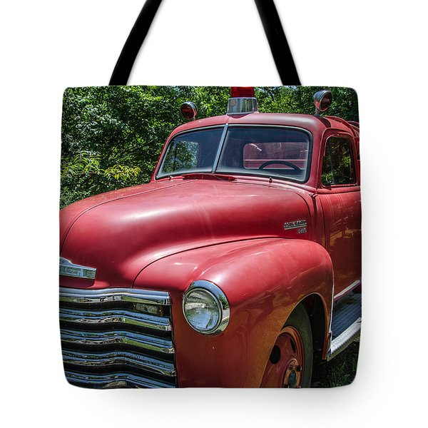 Old Chevy Fire Engine Tote Bag