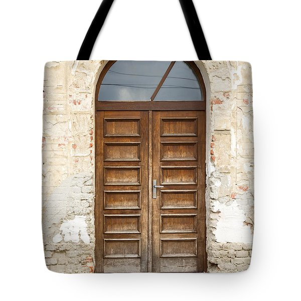 Tote Bag featuring the photograph Old Church Door by Les Palenik
