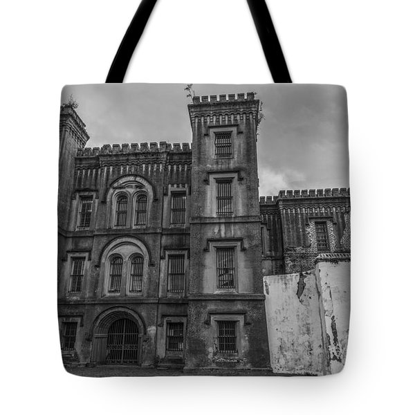 Old City Jail In Black And White Tote Bag