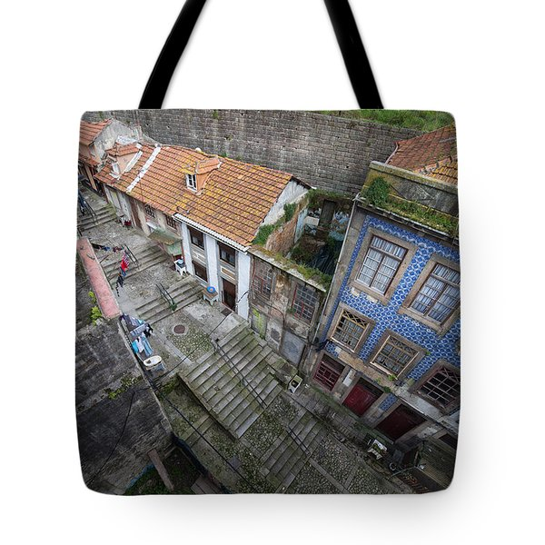 Old City Of Porto In Portugal From Above Tote Bag