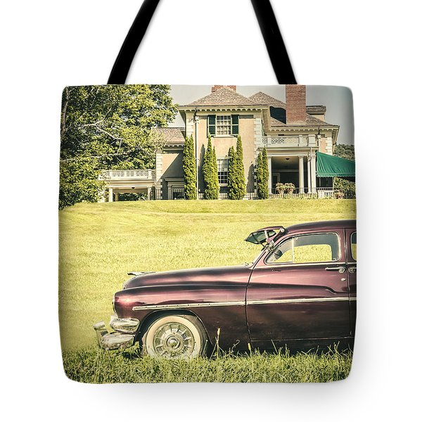 1951 Mercury Sedan In Front Of Large Mansion Tote Bag by Edward Fielding