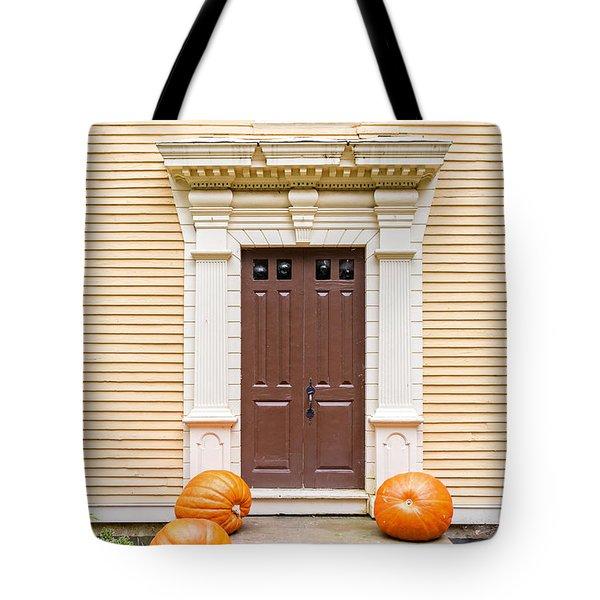 Old Colonial Era Front Door With Pumpkins Tote Bag