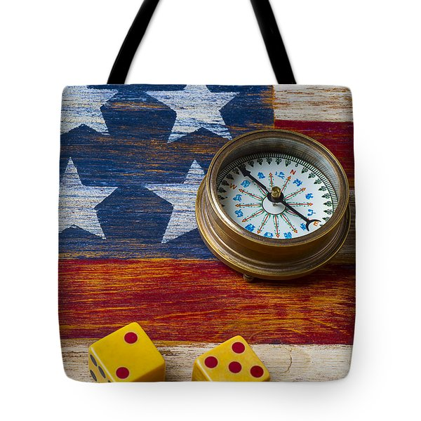 Old Dice And Compass Tote Bag by Garry Gay