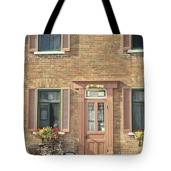 Old Downtown Building Doorway And Bike On Street Tote Bag
