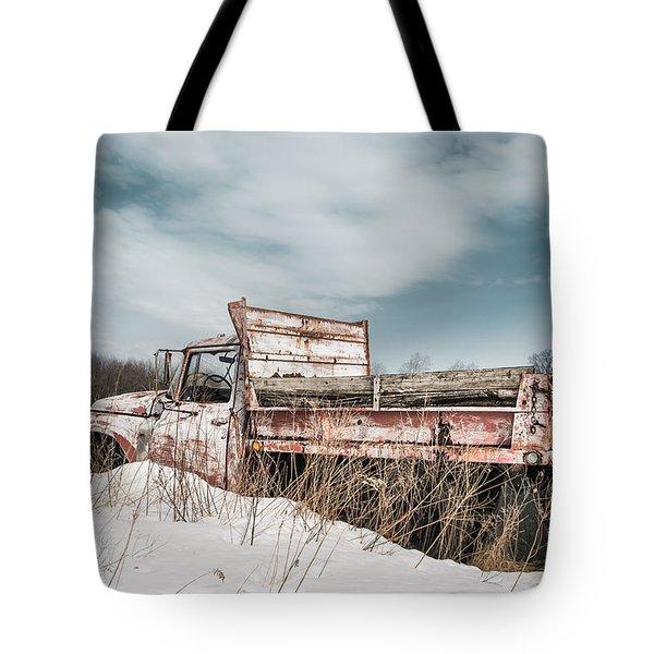 Old Dump Truck - Winter Landscape Tote Bag