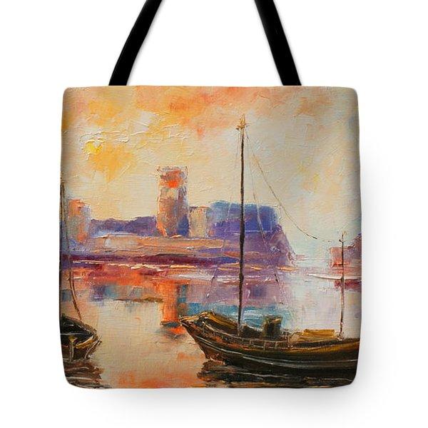Old Dunbar Harbour Tote Bag
