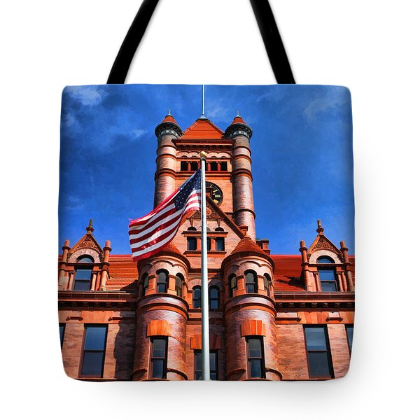 Old Dupage County Courthouse Flag Tote Bag by Christopher Arndt