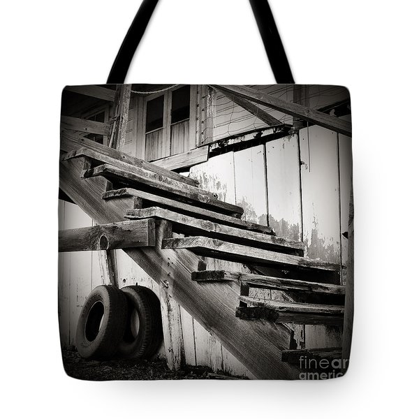 Old Farm Stairs Tote Bag by Charmian Vistaunet