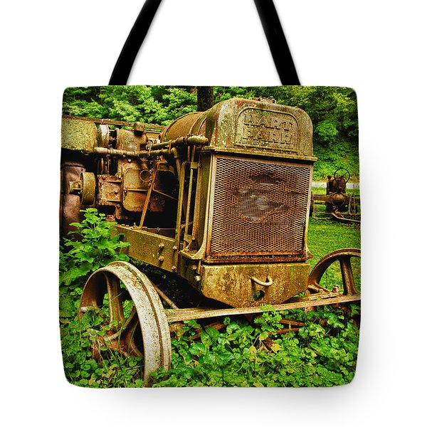 Old Farm Tractor Tote Bag by Sebastian Musial