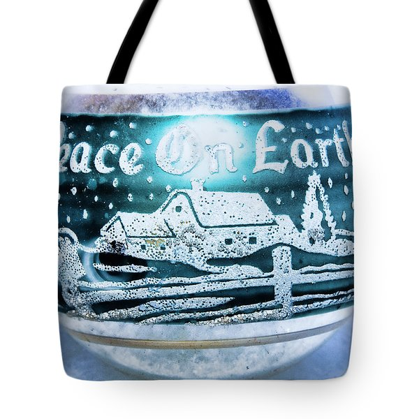Tote Bag featuring the photograph Christmas Tree Ornament Peace On Earth  by Vizual Studio