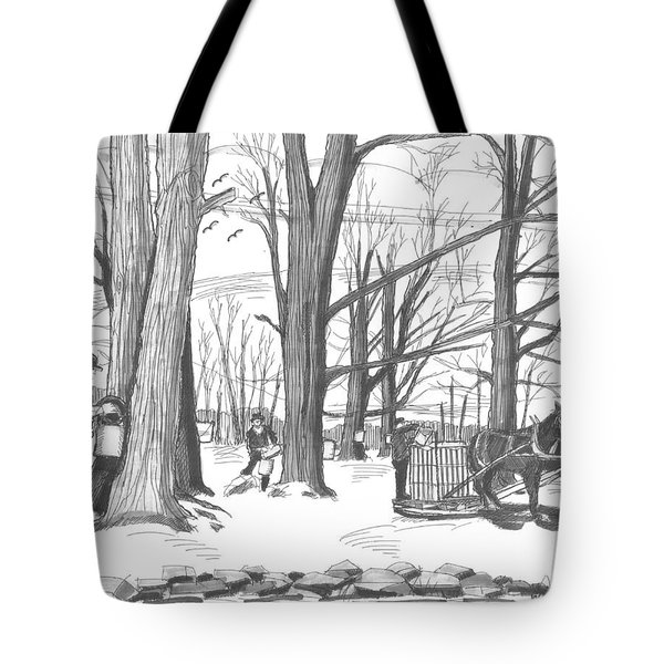 Tote Bag featuring the drawing Old Fashioned Maple Syruping by Richard Wambach