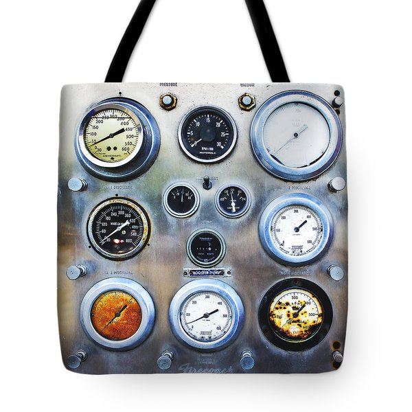 Old Fire Truck Gauge Panel Tote Bag