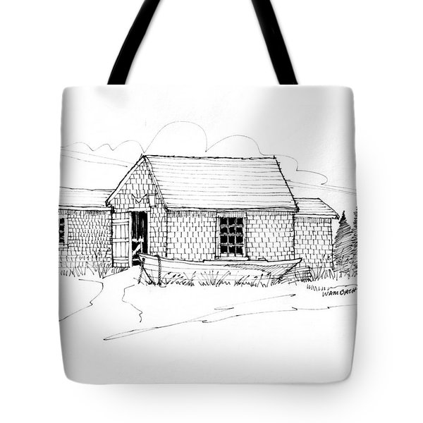 Tote Bag featuring the drawing Old Fishermans Shack Monhegan Museum 1987 by Richard Wambach