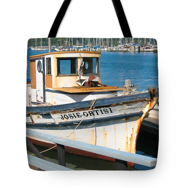 Tote Bag featuring the photograph Old Fishing Boat In Sausalito by Connie Fox