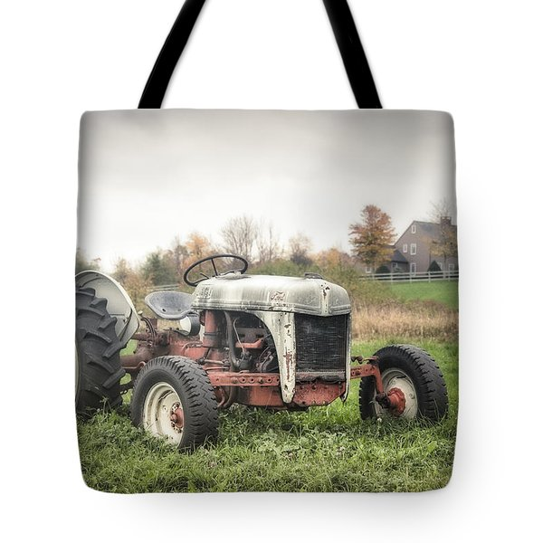 Old Ford Tractor And Farm House Tote Bag by Gary Heller