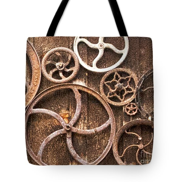 Old Gears In Genoa Nevada Tote Bag by Artist and Photographer Laura Wrede