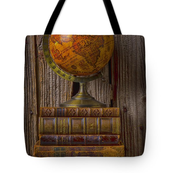 Old Globe On Old Books Tote Bag by Garry Gay