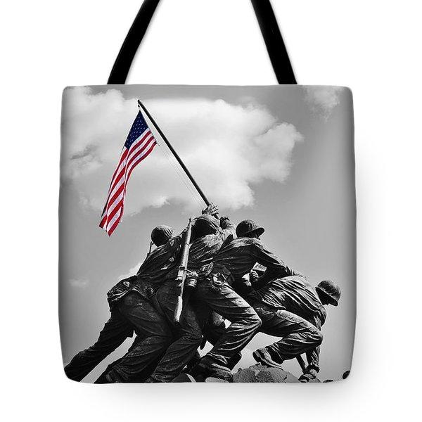 Old Glory At Iwo Jima Tote Bag