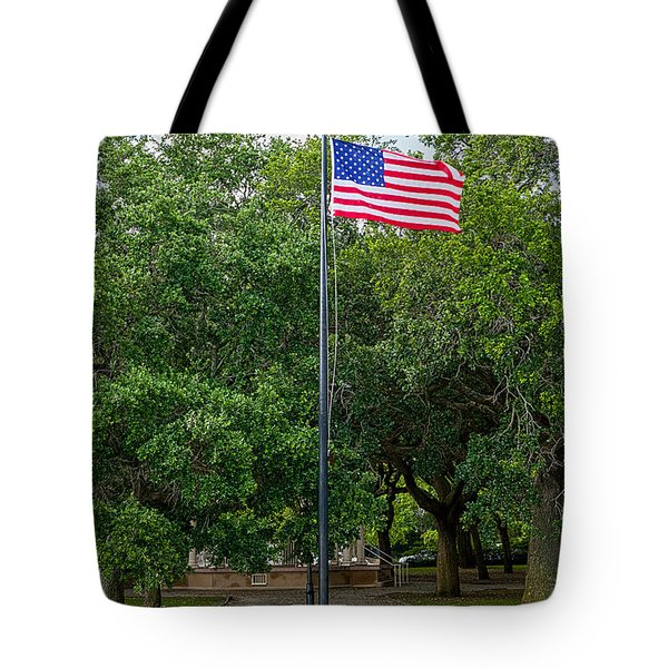 Tote Bag featuring the photograph Old Glory High And Proud by Sennie Pierson