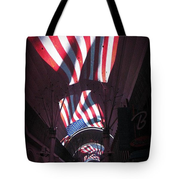 Old Glory In Vegas Tote Bag by John Malone