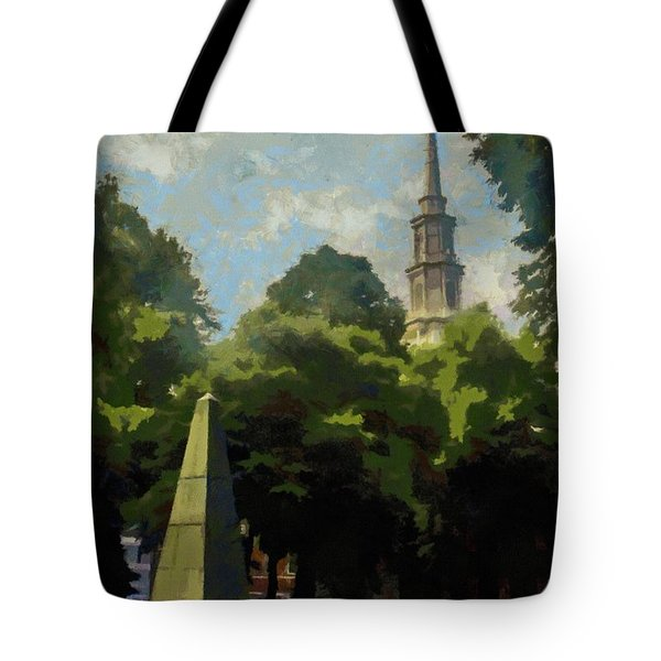 Tote Bag featuring the painting Old Granery Burying Ground by Jeff Kolker