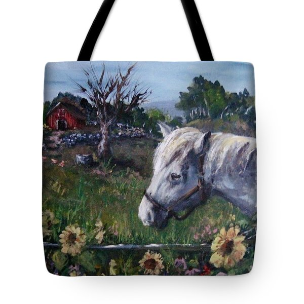 Tote Bag featuring the painting Old Grey Mare by Megan Walsh