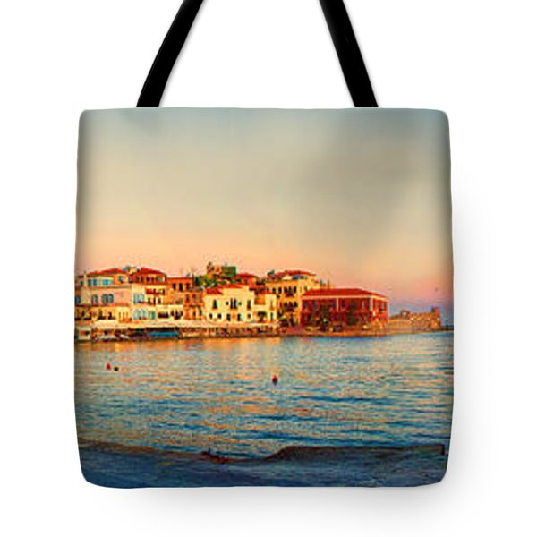 Old Harbour In Chania Crete Greece Tote Bag