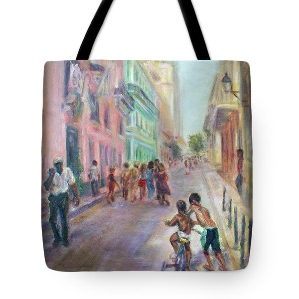 Old Havana Street Life - Sale - Large Scenic Cityscape Painting Tote Bag by Quin Sweetman