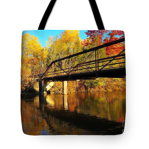 Tote Bag featuring the photograph Historic Harvey Bridge Over Manistee River In Wexford County Michigan by Terri Gostola