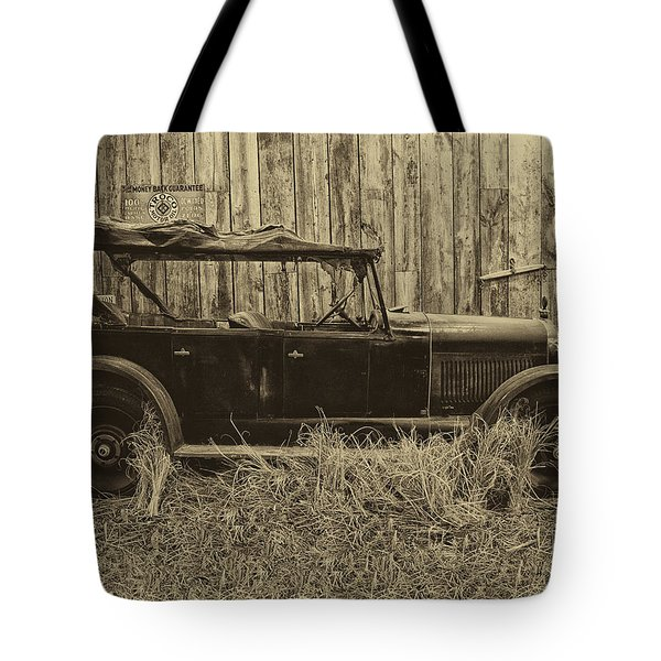 Old Jalopy Behind The Barn Tote Bag by Thomas Woolworth