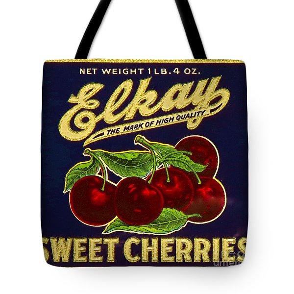 Cherries Antique Food Package Label Tote Bag