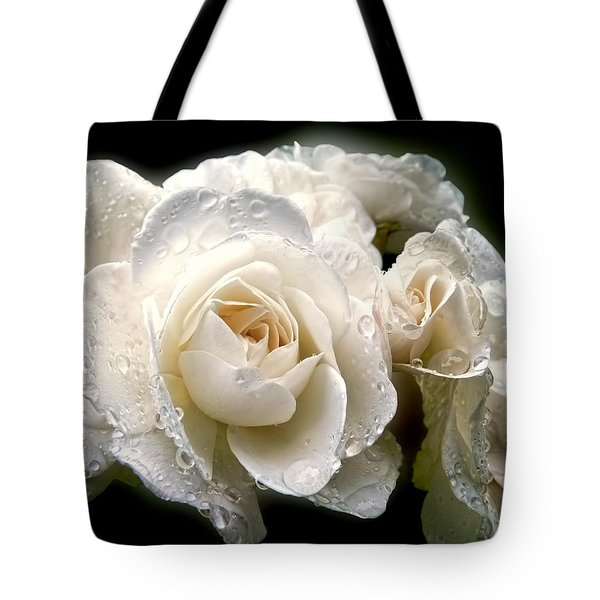 Old Lace Rose Bouquet Tote Bag by Jennie Marie Schell