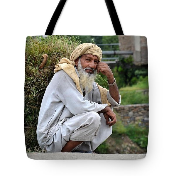 Old Man Carrying Fodder Swat Valley Kpk Pakistan Tote Bag