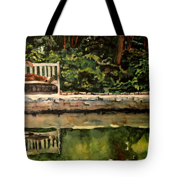 Old Man On A Bench Tote Bag