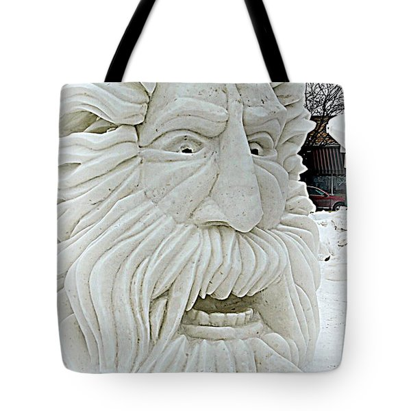Old Man Winter Snow Sculpture Tote Bag