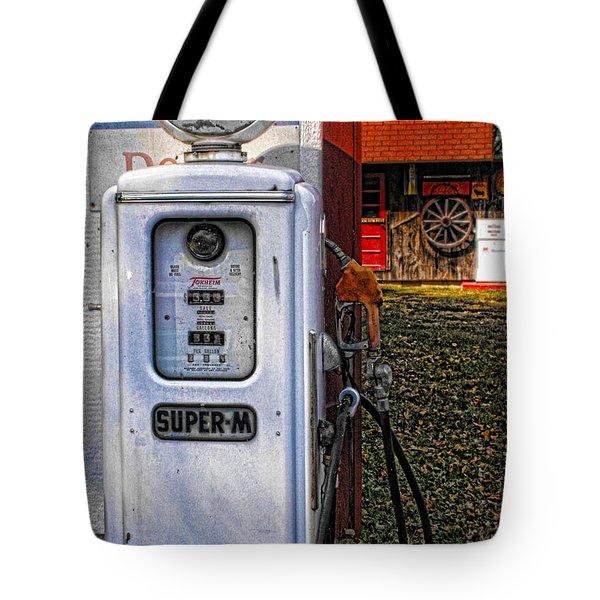 Old Marathon Gas Pump Tote Bag