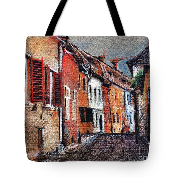 Old Medieval Street In Sighisoara Citadel Romania Tote Bag