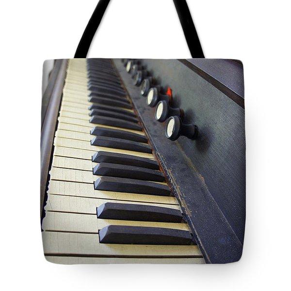 Old Organ Keyboard Tote Bag by Laurie Perry