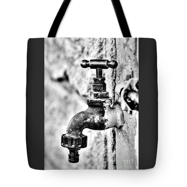 Old Outdoor Tap - Black And White Tote Bag by Kaye Menner