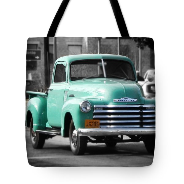 Old Pickup Truck Photo Teal Chevrolet Tote Bag