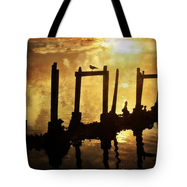 Tote Bag featuring the photograph Old Pier At Sunset by Marty Koch