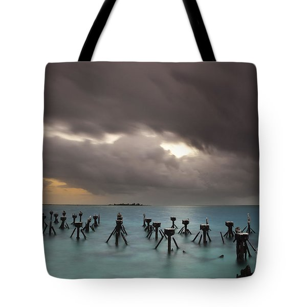 Tote Bag featuring the photograph Old Pier In The Florida Keys by Keith Kapple